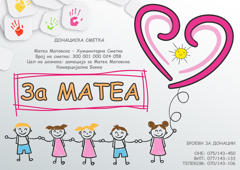 АПЕЛ ЗА ПОМОШ: Да ѝ помогнеме на Матеа побрзо да се врати во училиште помеѓу своите другарчиња