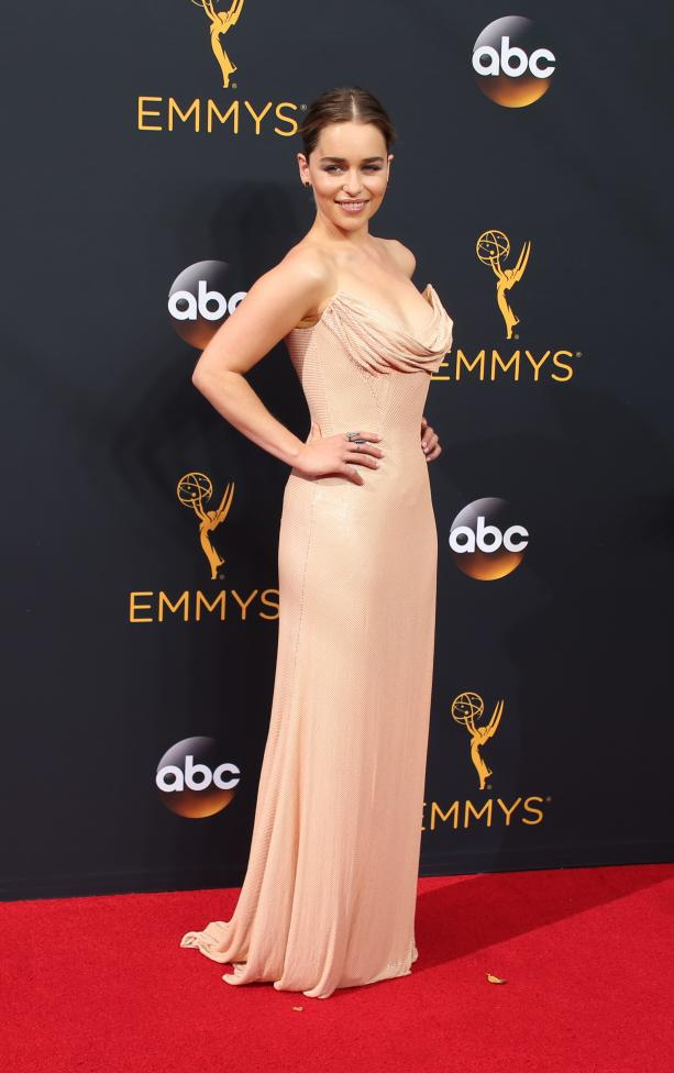 """Actress Emilia Clarke from the HBO series """"Game of Thrones"""" arrives at the 68th Primetime Emmy Awards in Los Angeles, California"""