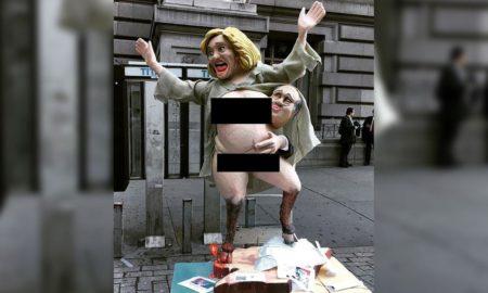 ВЖЕШТЕНА ИЗБОРНА КАМПАЊА: Скулптура на Хилари Клинтон со копита (ФОТО)