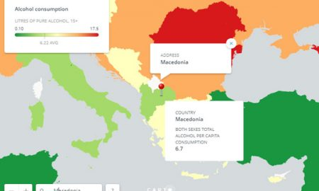 Мапа на која е прикажано во која земја колку се пие алкохол